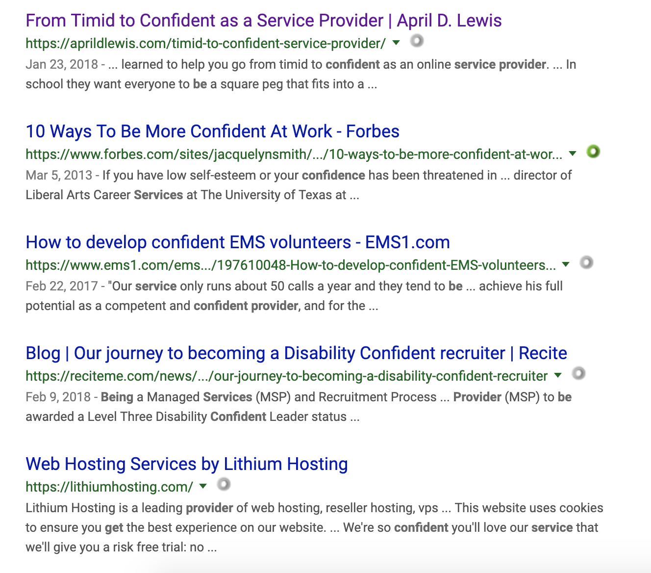 April Lewis ranks above Forbes in search results