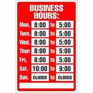 sign with business hours