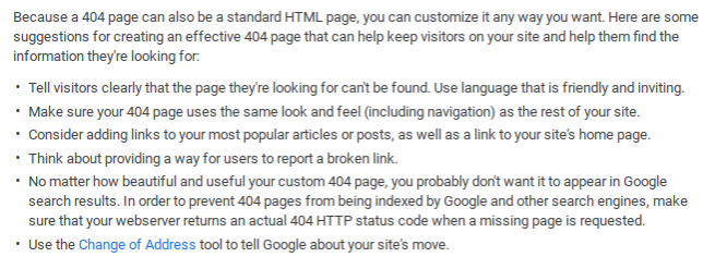 Google recommendations for custom 404 pages