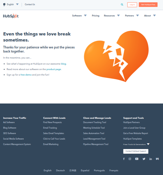 404 error page for HubSpot