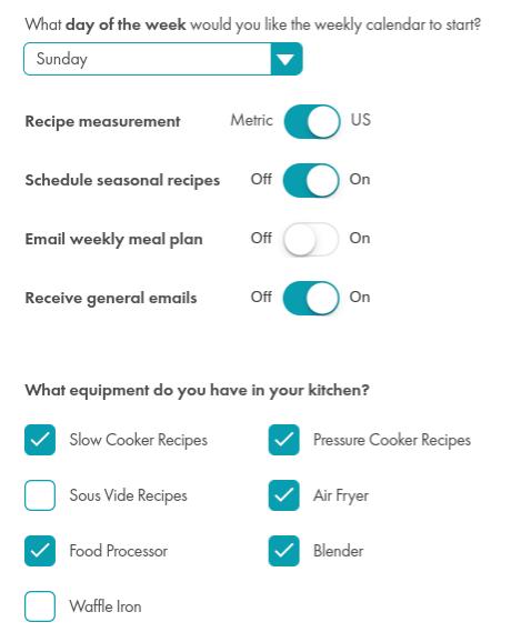 Set your unit of measurement and kitchen appliances