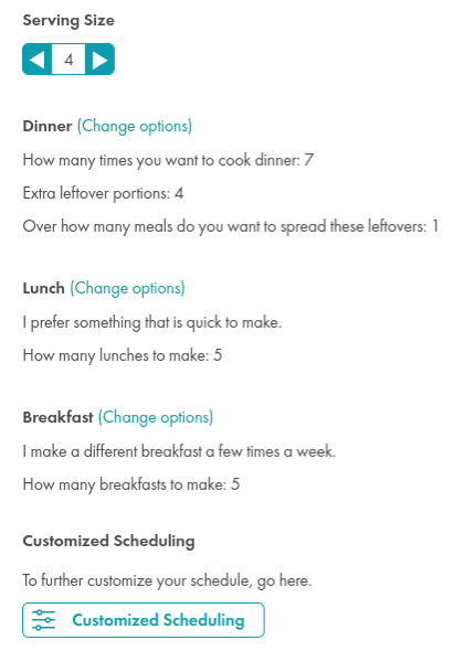 Set other options for your meal plans